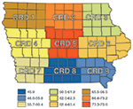 Figure 1. Iowa Crop Reporting District (CRD) Map and Average Corn Suitability Ratings
