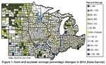 Figure 1. Corn and soybean acreage percentage changes in 2014 (Nass Survey)
