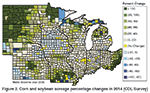 Figure 2. Corn and soybean acreage percentage changes in 2014 (CDL Survey)