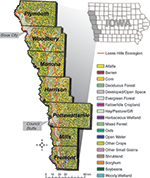 Figure 1: Iowa's Loess Hills Ecoregion, as defined by Iowa Dept. of Natural Resources (DNR).